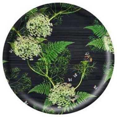 Black Wood Large Round Tray