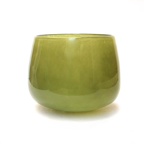 Olive Glass Pot - Small
