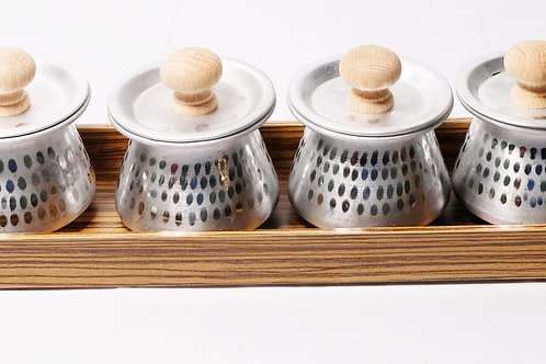 Serving Tray With Tin Jars M