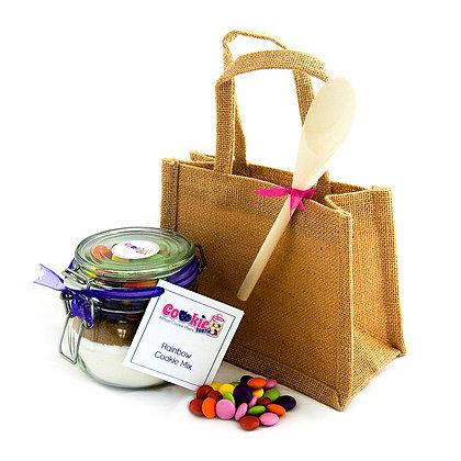 Cookie Mix Jar,  Jute Gift Bag & Wooden Spoon