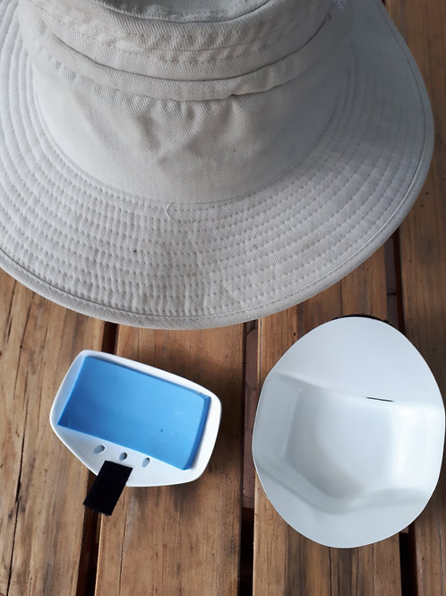Cooling hat with Coldie air conditioned insert and charger, cartridge