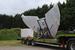 Shrink Wrapped Harrier wing on stand