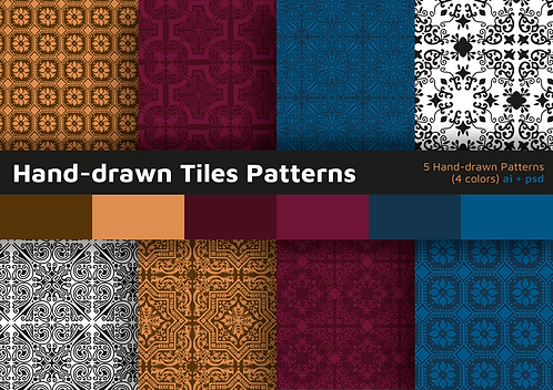 Hand-drawn Tiles - 5 Patterns (with 4 colors)
