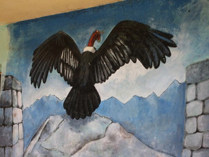The Condor overlooking the Andes on the wall of a Peruvian medicine man's home