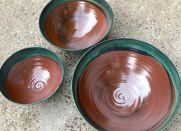 Nest of 3 copper/emerald bowls