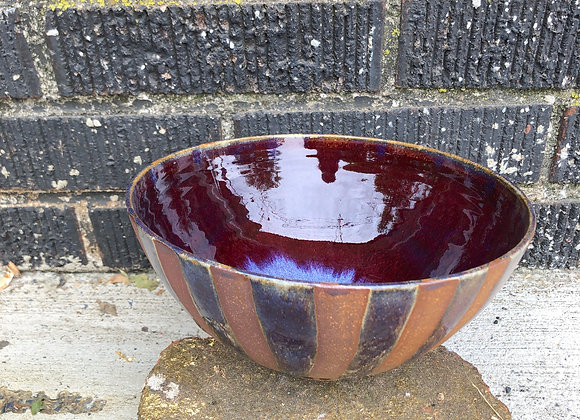 Copper red striped noodle bowl