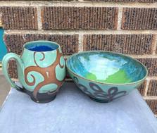 Swirl Mint Mug and Bowl
