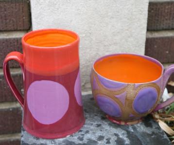 Pink, Orange, and Purple Dot Mugs