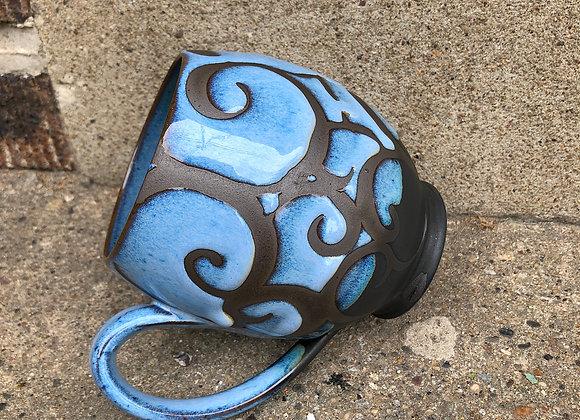 Castile blue, fern interior cup