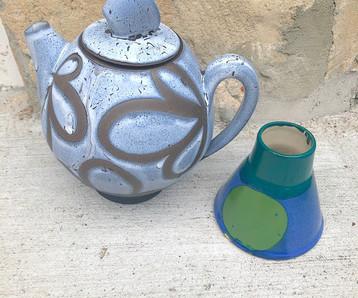 Blue Swirl Teapot and Dot Vase