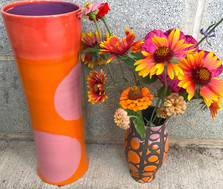 Dot and Swirl Vase with Orange, Pink, and Red