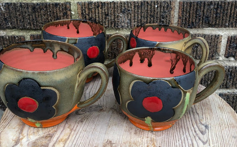 Black and Red Flower Mugs