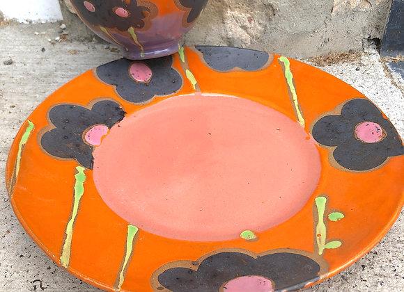 orange/pink/purple flower chip dip