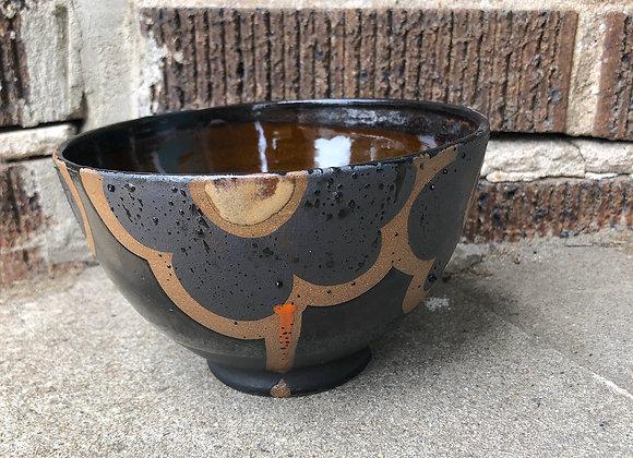 amber/black flower bowl