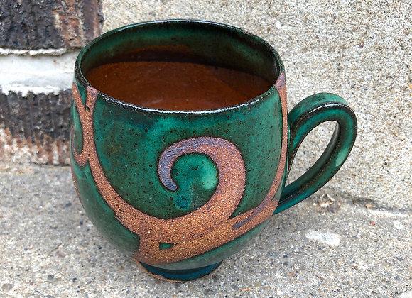 Mason/emerald swirl cup