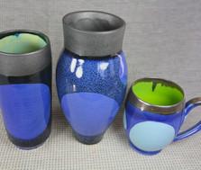 Blue Dot Vases and Mug