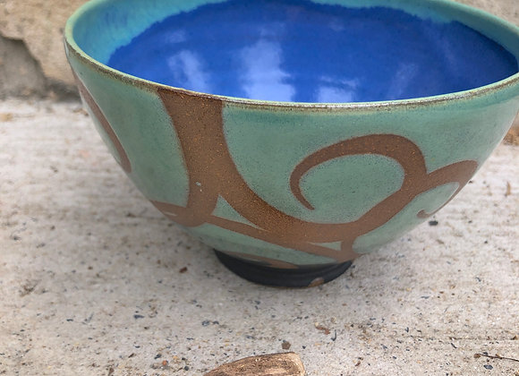 blue/star/charcoal swirly bowl