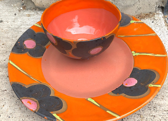 coral orange pink flower chip and dip