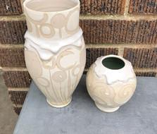 White Swirl Drip Vase