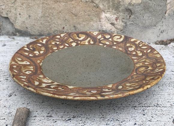 grey super swirly plate
