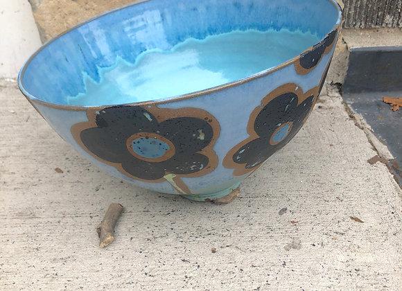 aqua flower serving bowl