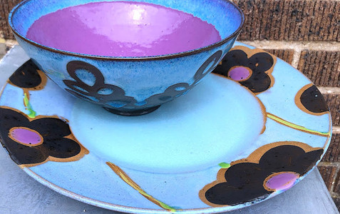 Blue Swirl Bowl with Blue, Black, and Purple Flower Plate