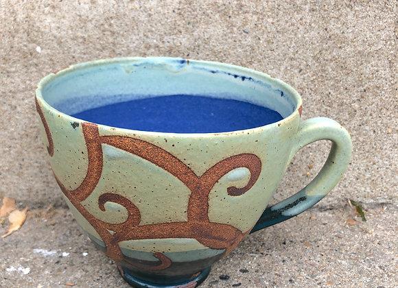 Wide cornflower blue interior swirl cup