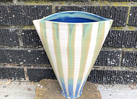 Summer striped elliptical vase