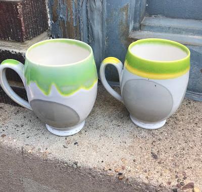 Green, Gray, and Yellow Dot Mug
