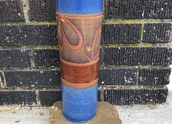 Blue and copper cylinder vase
