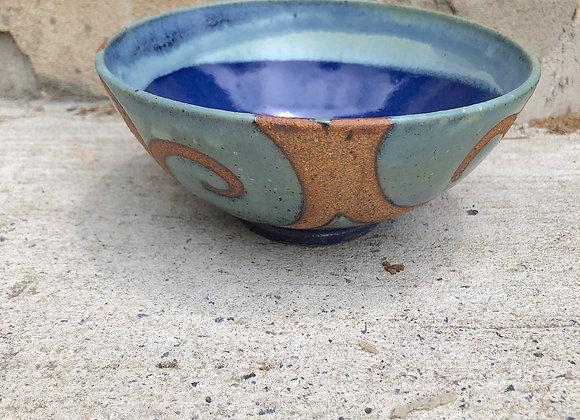 glossy blue interior swirl bowl