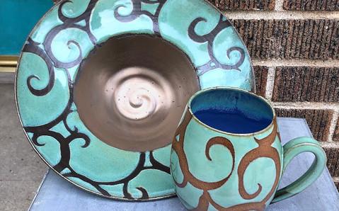 Swirl Mint Mug and Plate