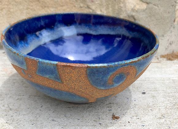 glossy glaze blue bowl
