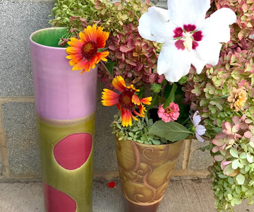 Pink, Green, and Purple Dot Vase with Brown Swirl Vase