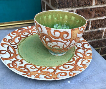 Swirl Terracotta and Green Plate and Bowl