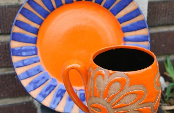 Orange and Blue Plate and Flower Orange Mug