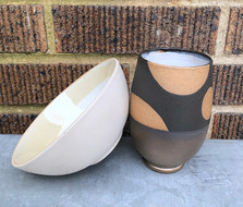 White Dot Bowl and Black Cup