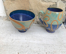 Blue and Green Swirl Mug and Bowl