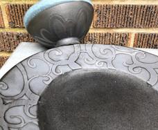Black Swirls Plate and Bowl