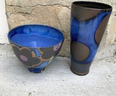 Black and Blue Dot Vase and Flower Bowl