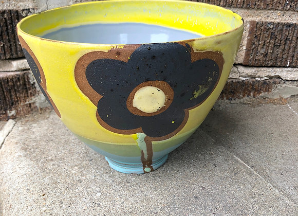 """large grey/yellow flower """"Tim"""" bowl"""