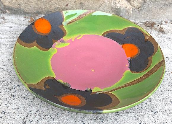 pink/green flower tapas plate
