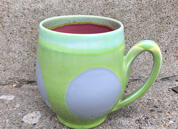 Pink interior lime green dot cup
