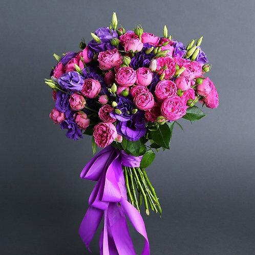 Букет микс розы и эустомы №26