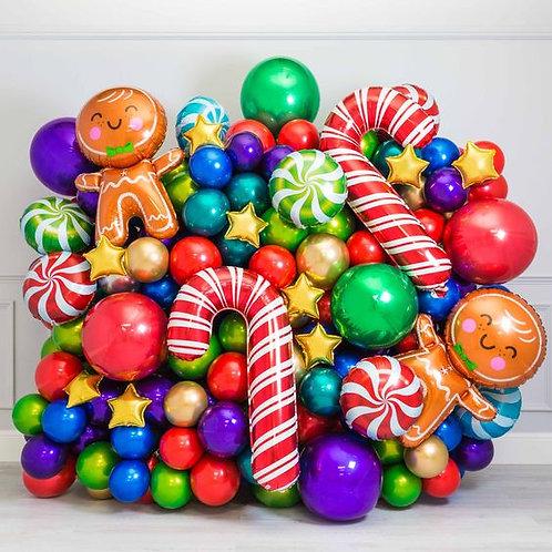 Стена из шаров Новый Год