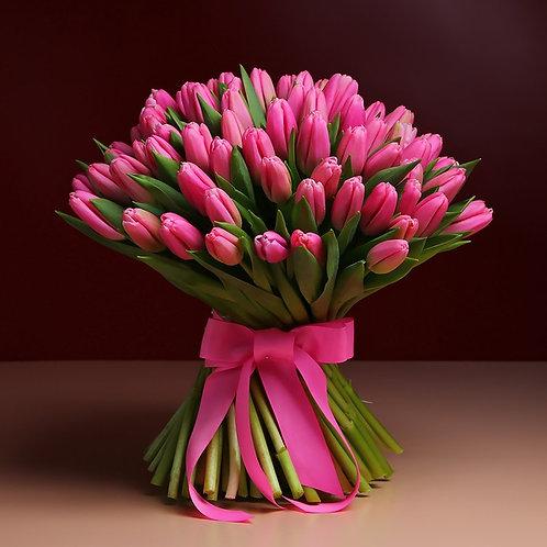 Букет из 101 розового тюльпана №3