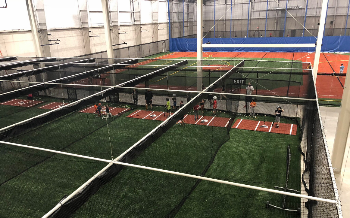batting cage in use