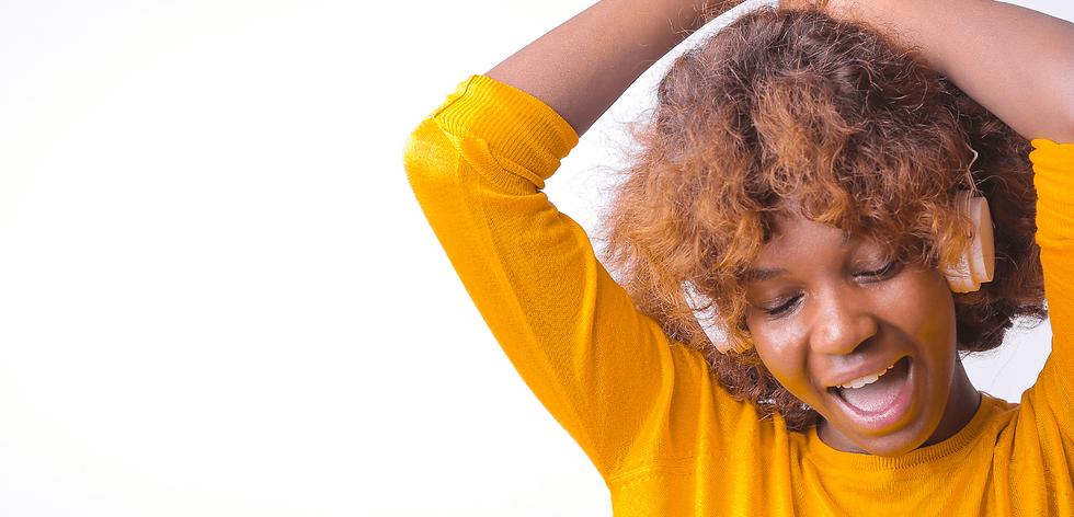 Black woman wearing headphones