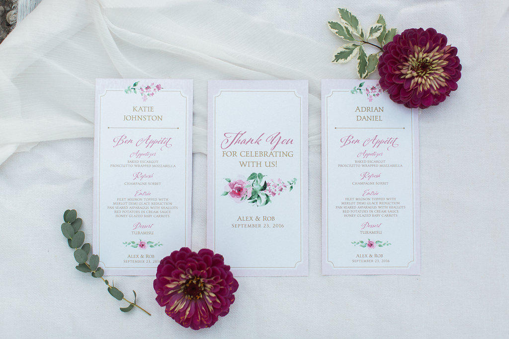 Personalized Wedding Menu Design