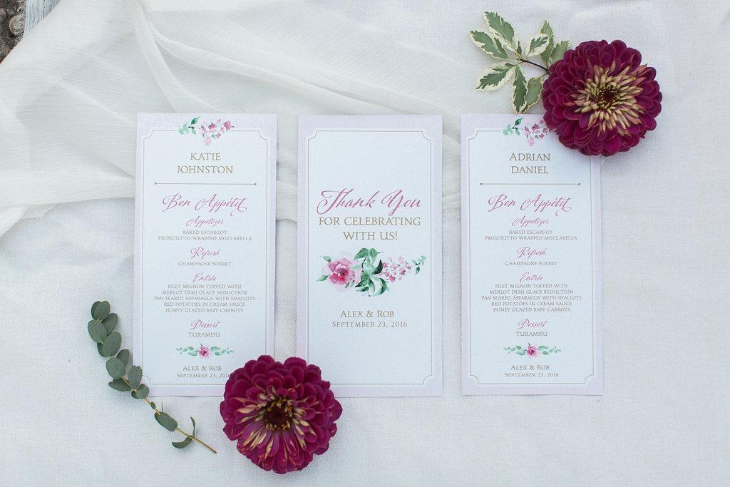 Personalized Wedding Menu Design